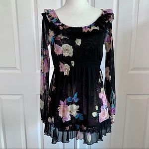 INC Black Floral Mesh Blouse